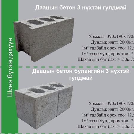 Даацын 3 нүхтэй бетон гулдмай (39x19x19)